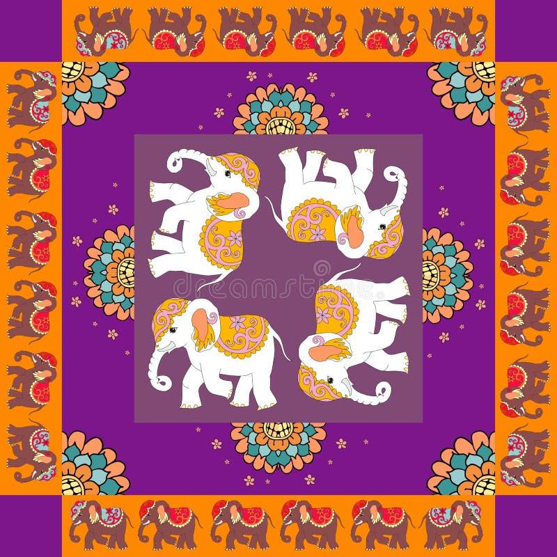 Indien Reizende Tischdecke oder Steppdecke Ethnischer Bandanadruck mit Blumen und Elefanten vektor abbildung