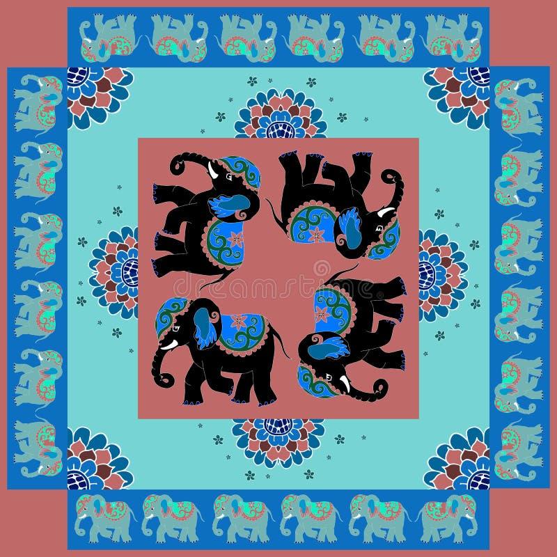 Indien Reizende Tischdecke oder Steppdecke Silk Halsschal mit Blumen und Elefanten stock abbildung