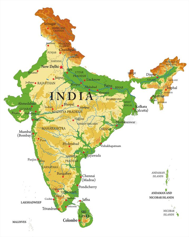 Indien-Reliefkarte stock abbildung