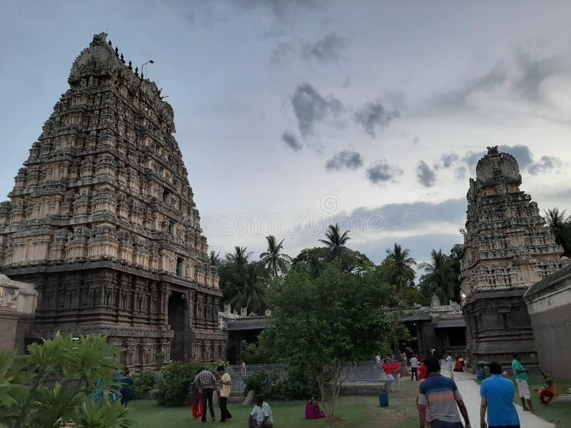 Indien södra indierShiva tempel gamla Architectur, vellore arkivbilder