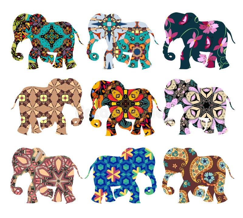 Indien Schöne Elefanten auf weißem Hintergrund Karikatur polar mit Herzen lizenzfreie abbildung