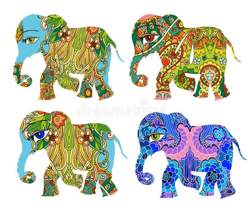 Indien Schöne Elefanten mit Blumen auf weißem Hintergrund lizenzfreie abbildung