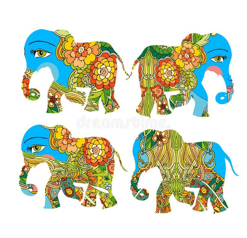 Indien Schöne Elefanten mit Blumen auf weißem Hintergrund Dekorative Schattenbilder stock abbildung