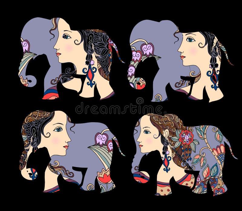 Indien Schöne Elefanten mit Porträt auf schwarzem Hintergrund stock abbildung
