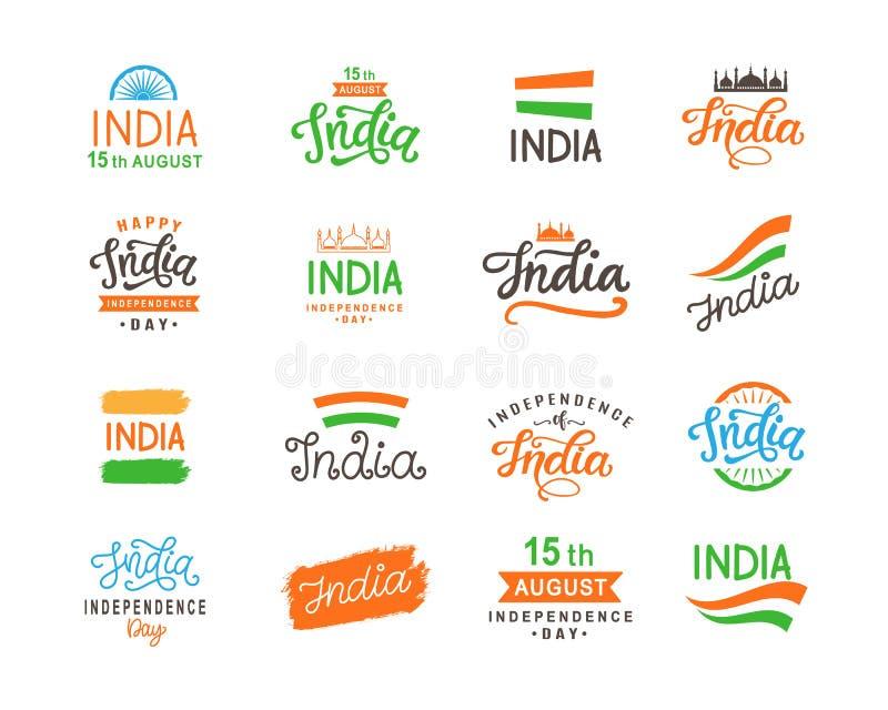 Indien självständighetsdagen Stor uppsättning för handgjorda bokstäverlogomallar royaltyfri illustrationer