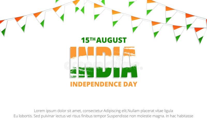 Indien självständighetsdagenbaner Baner med buntings av den Indien flaggan royaltyfri illustrationer