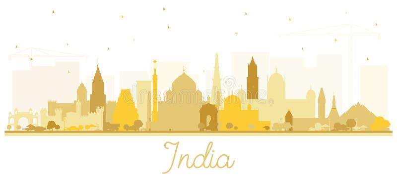 Indien-Stadt-Skyline-Schattenbild mit den goldenen Gebäuden lokalisiert auf Weiß lizenzfreie abbildung