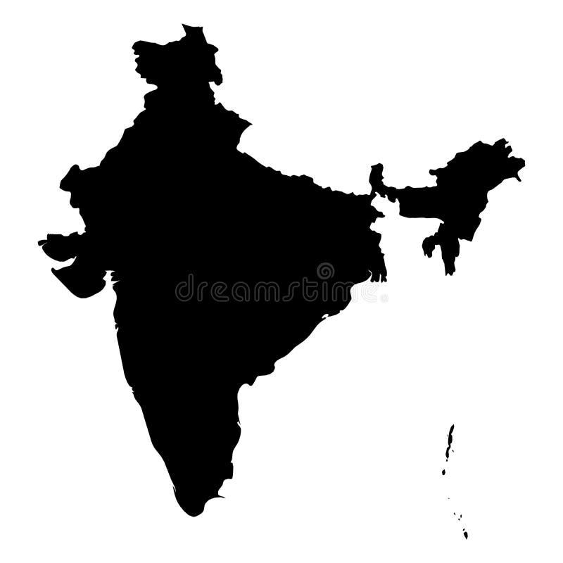 Indien - svart konturöversikt för heltäckande av landsområde Enkel plan vektorillustration stock illustrationer