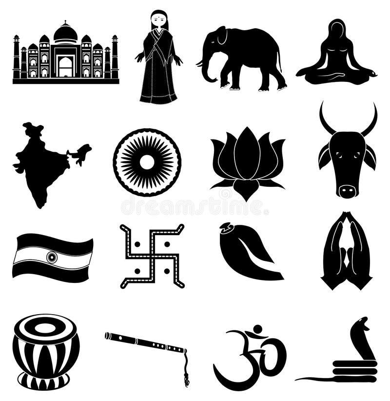 Indien symbolsuppsättning royaltyfri illustrationer