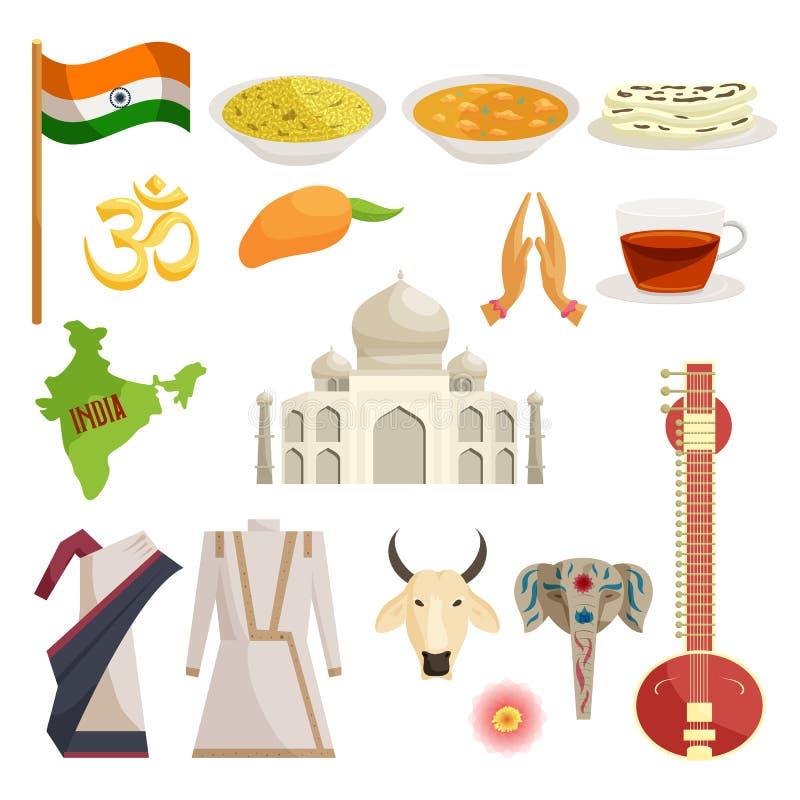 Indien symbolsuppsättning, catoonstil stock illustrationer