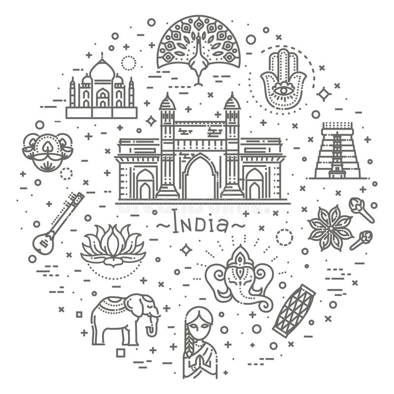 Indien symbolsuppsättning Indiska dragningar, linje design Turism i Indien, isolerad vektorillustration traditionella symboler royaltyfri illustrationer