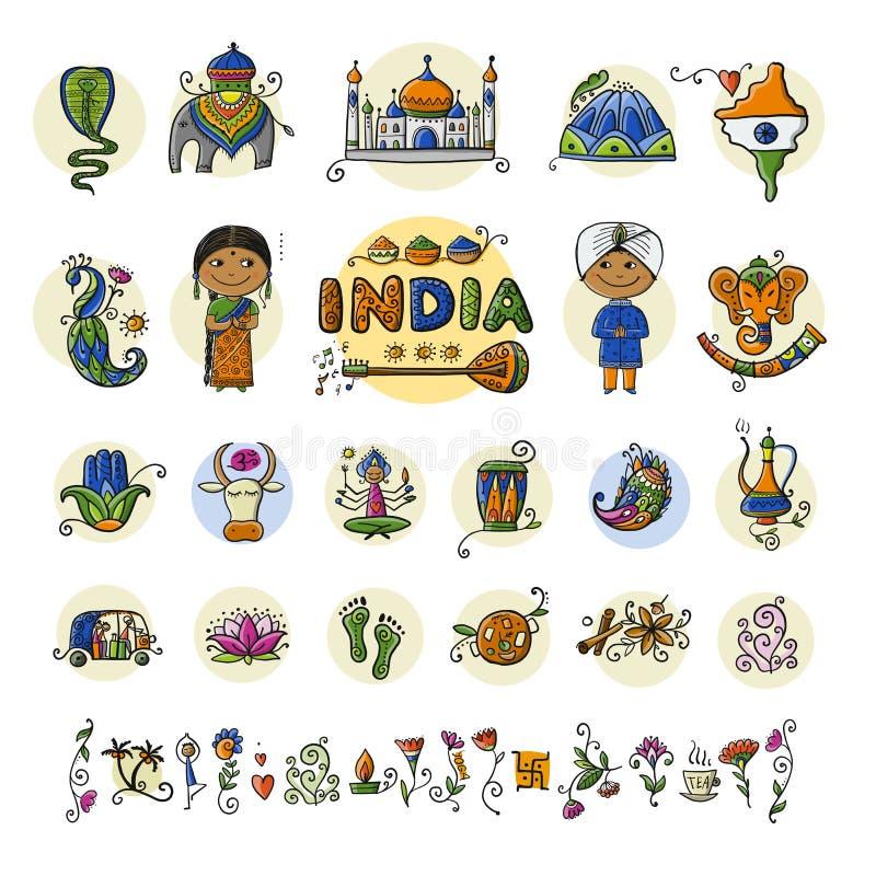 Indien symbolsuppsättning Skissa för din design royaltyfri illustrationer