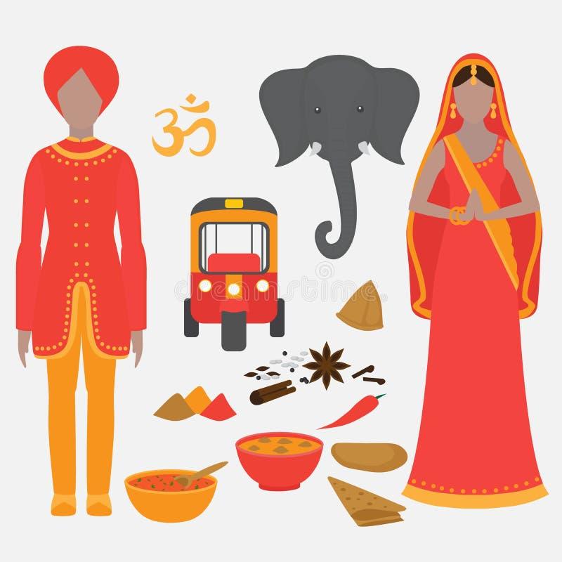 Indien symboluppsättning Hinduismdesignbeståndsdelar South Asia härlig kvinna och man som bär den indiska traditionella torkduken stock illustrationer