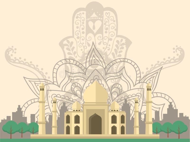 Indien Taj Mahal vektor illustrationer
