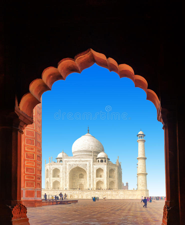 Indien Taj Mahal. Indisk slott fotografering för bildbyråer