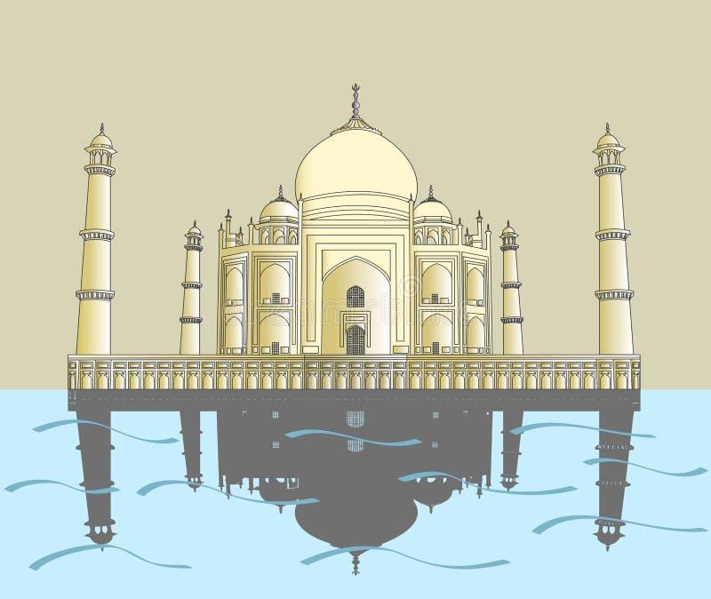 Indien Taj Mahal, indisk slott vektor illustrationer