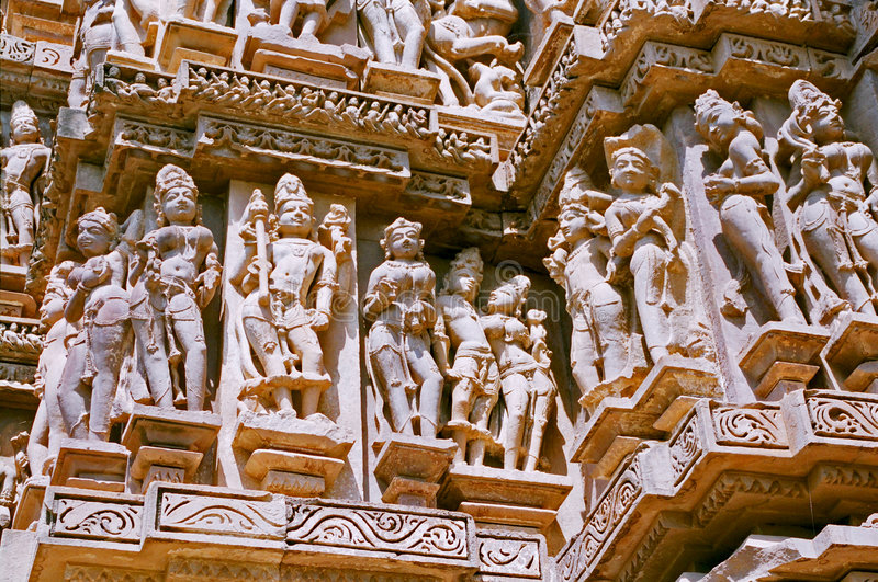 Indien, Tempel in Khajuraho. stockfoto