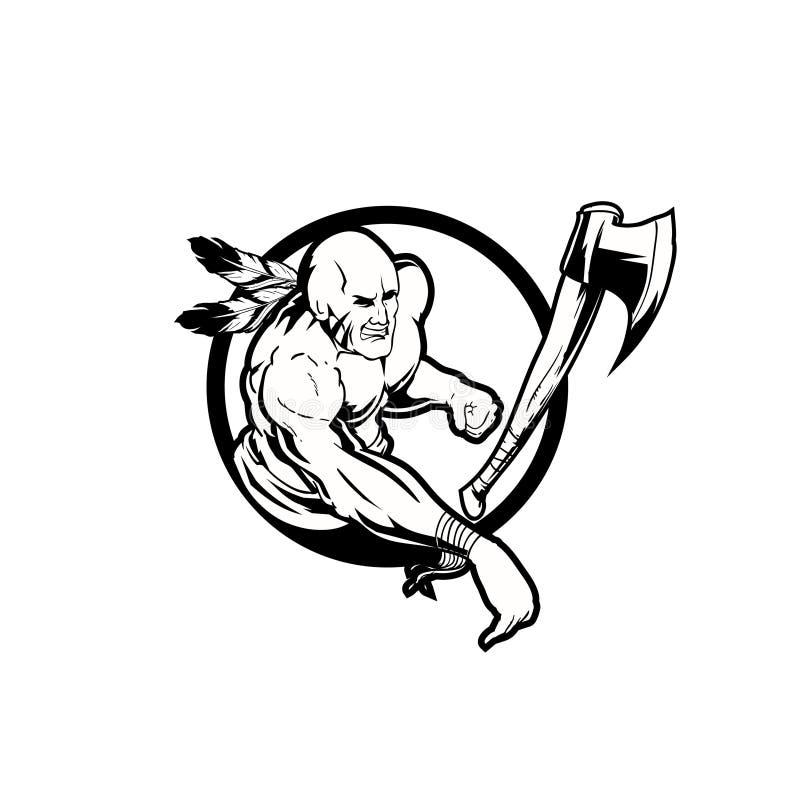 Indien tribal noir et blanc stupéfiant avec le vecteur de hache illustration de vecteur