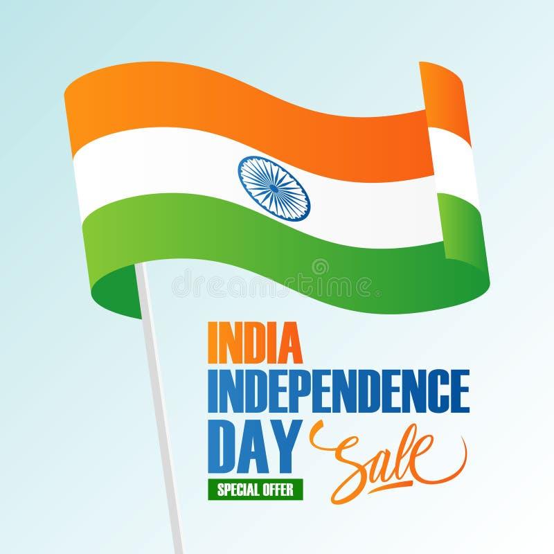 Indien-Unabhängigkeitstag-Feiertags-Verkaufsfahne mit dem Wellenartig bewegen der indischen Staatsflagge vektor abbildung
