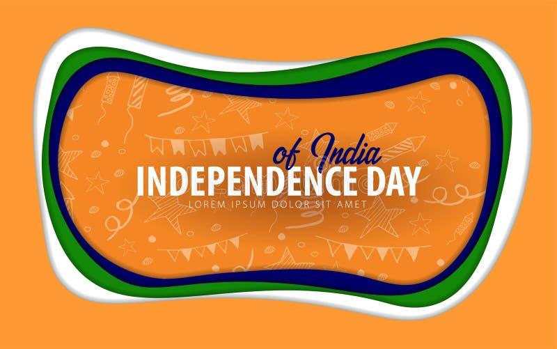 Indien Unabhängigkeitstaggrußkarte Papierschnittart stock abbildung