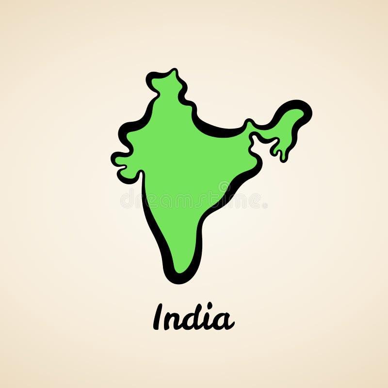 Indien - ?versikts?versikt royaltyfri illustrationer