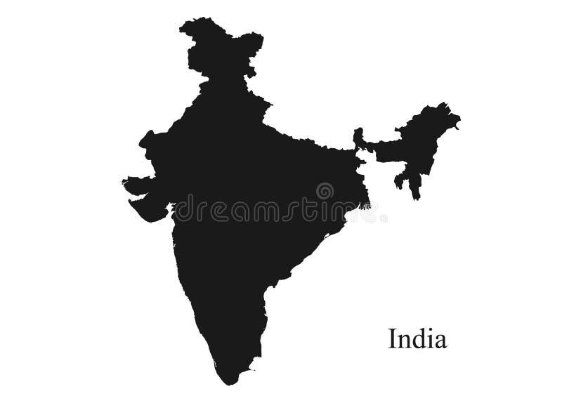 Indien ?versiktssymbol svart isolerad bild för kontur vektor av det asiatiska landet vektor illustrationer