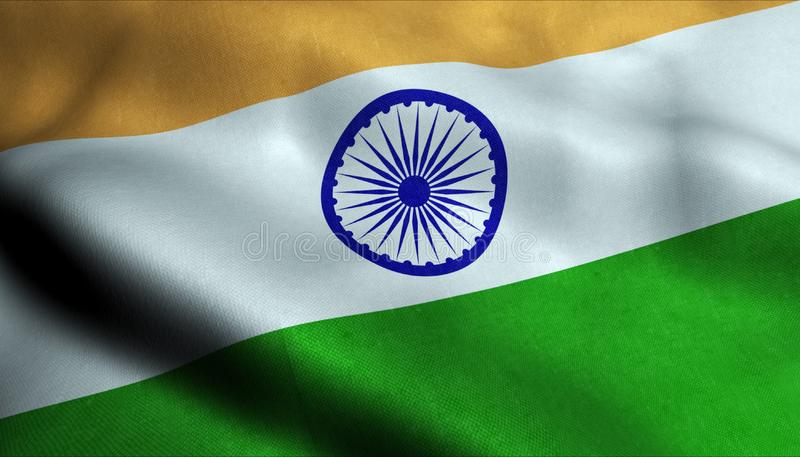 Indien vinkande flagga i 3D royaltyfri illustrationer