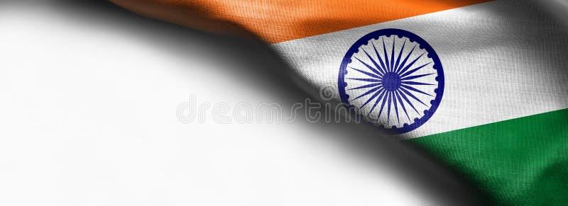 Indien vinkande flagga på vit bakgrund - höger bästa hörnflagga royaltyfri bild