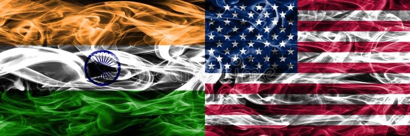 Indien vs Förenta staterna röker den flaggor förlade sidan - förbi - sidan Oss flagga, vektor illustrationer
