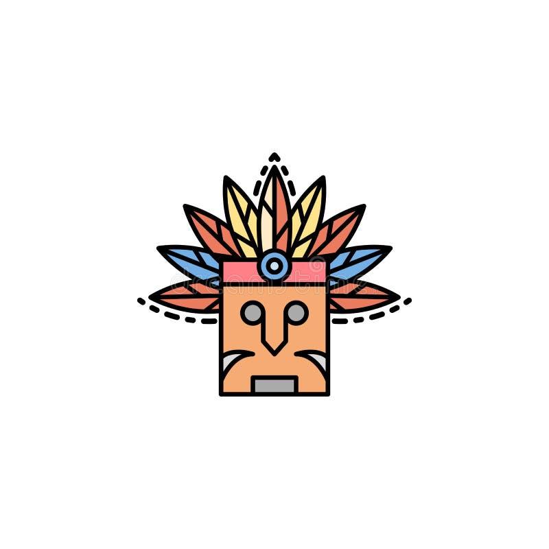 Indier egen, maskering, fjädersymbol Beståndsdel av historiefärgsymbolen för mobila begrepps- och rengöringsdukapps Färgindier, e stock illustrationer