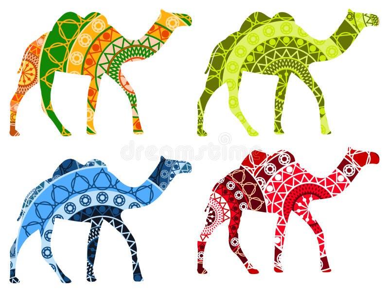 Indier för Bactrian kamel Kamel med en modell på vit bakgrund stock illustrationer
