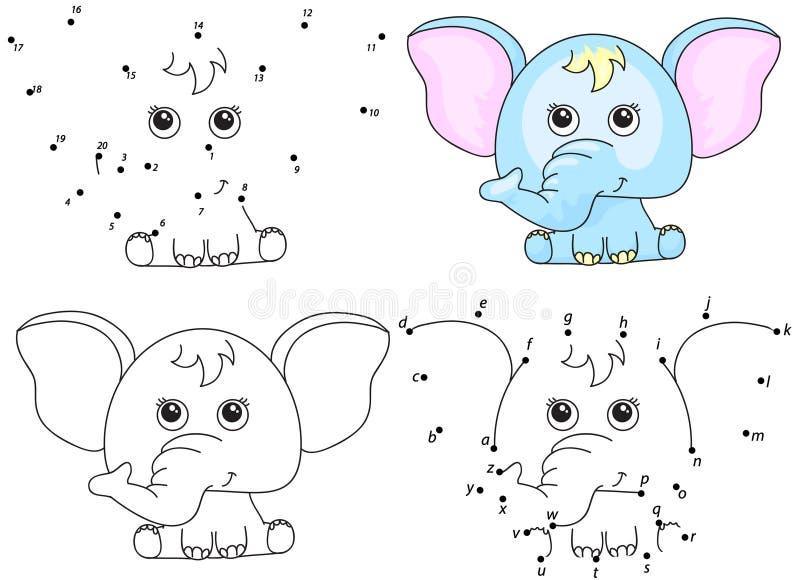 indier för illustration för tecknad filmelefant rolig Färgläggningbok och prick som pricker leken för ungar royaltyfri illustrationer