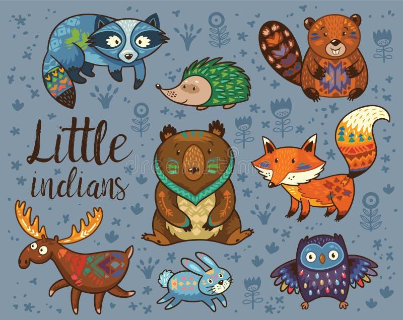 indier little För djurvektor för skogsmark stam- uppsättning royaltyfri illustrationer