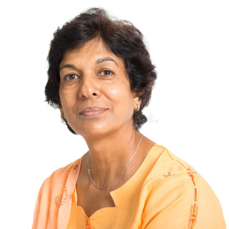 Indier mognar kvinnan arkivbild