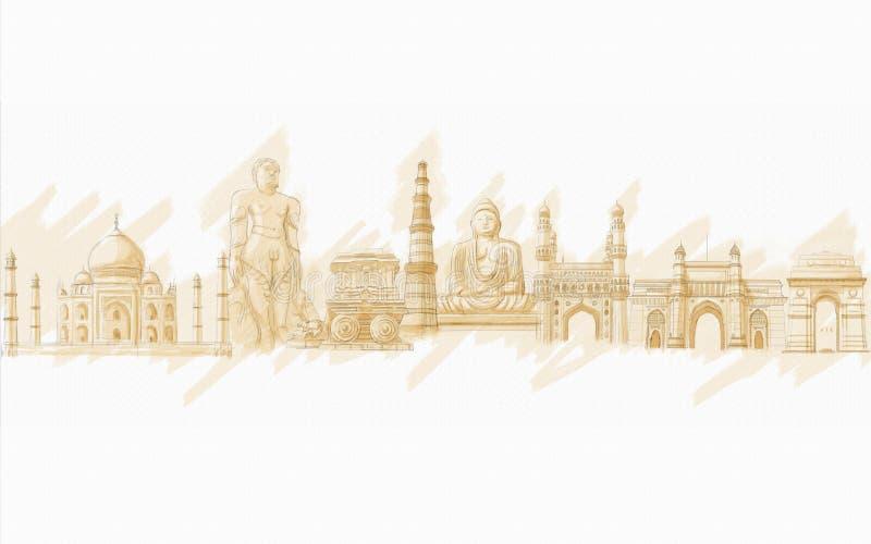 Indier Monment royaltyfri illustrationer