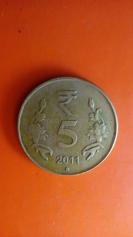 Indier 5 rupie mynt arkivbilder