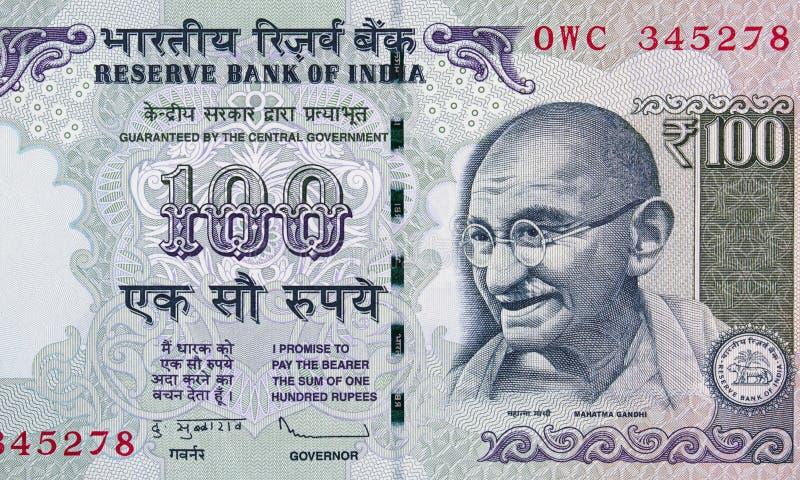 Indier 100 rupie sedelslut upp, Indien pengarcloseup arkivbild