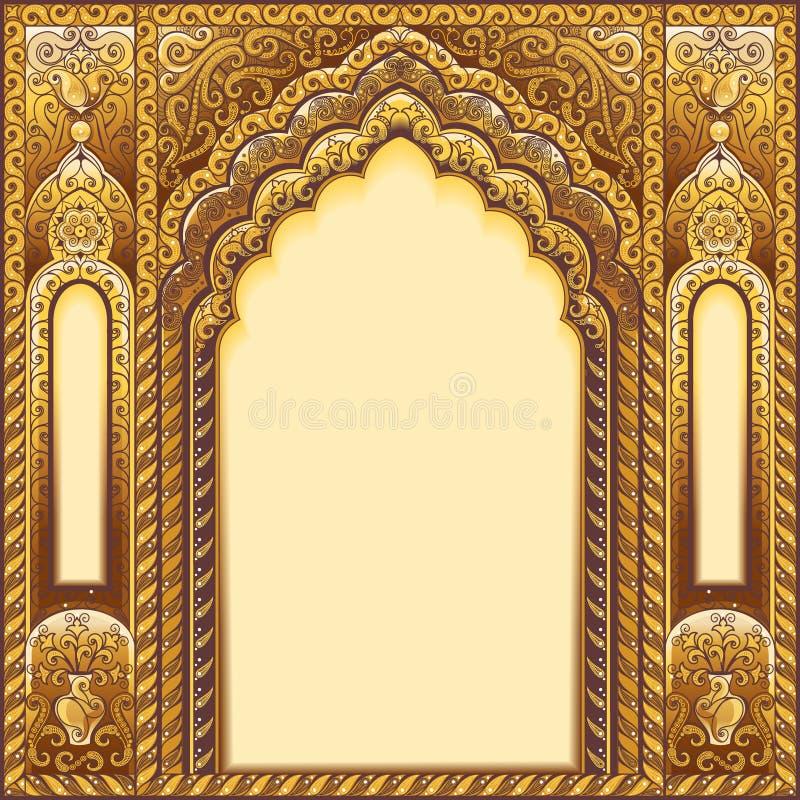 Indier smyckad båge Färgguld royaltyfri illustrationer