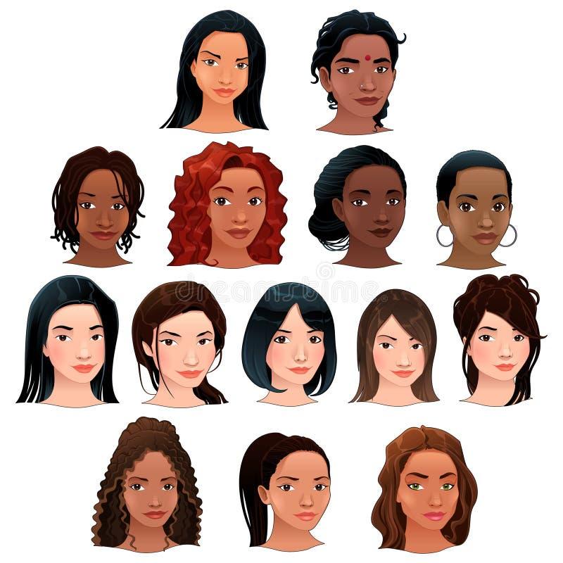 Indier-, svart-, asiat- och latinokvinnor. vektor illustrationer
