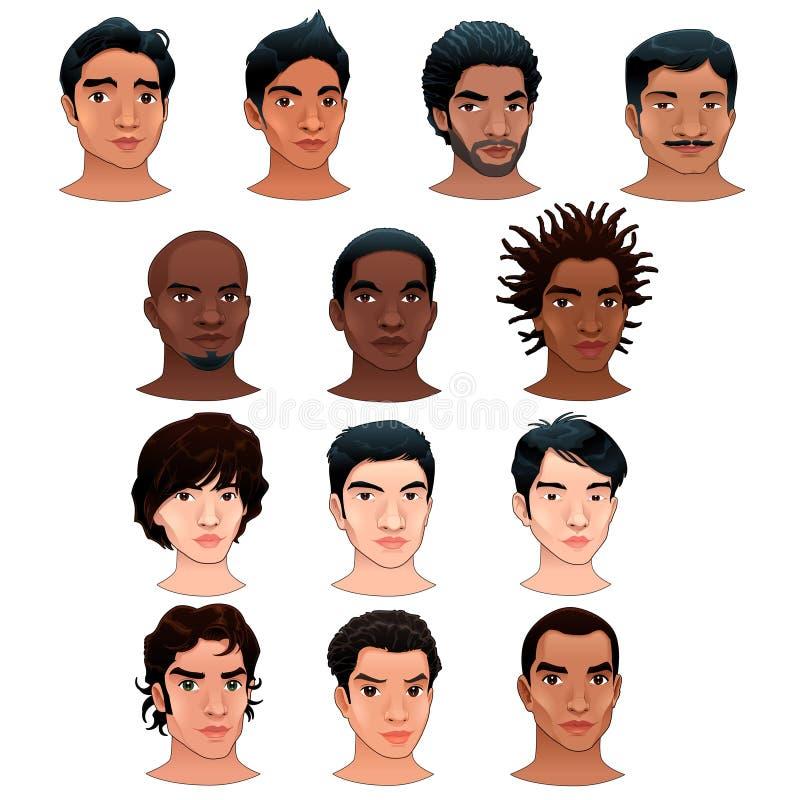 Indier-, svart-, asiat- och latinomän. stock illustrationer