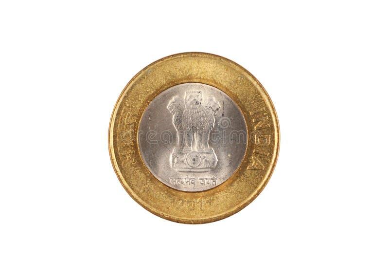 Indier tio rupie myntslut upp på vit bakgrund royaltyfri bild