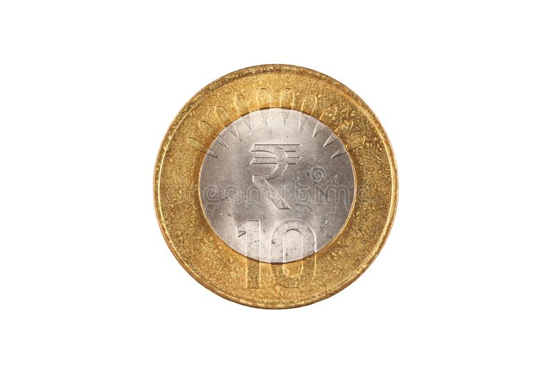 Indier tio rupie myntslut upp på vit bakgrund royaltyfri fotografi