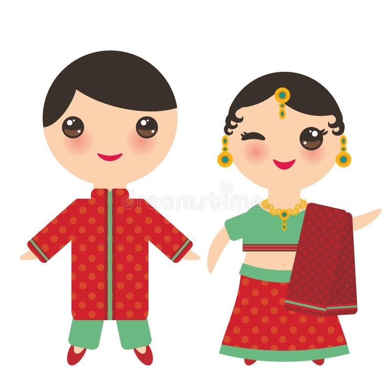 IndierKawaii pojke och flicka i nationell dräkt Tecknad filmbarn i traditionella Indien klär sari som isoleras på vit bakgrund Ve royaltyfri illustrationer