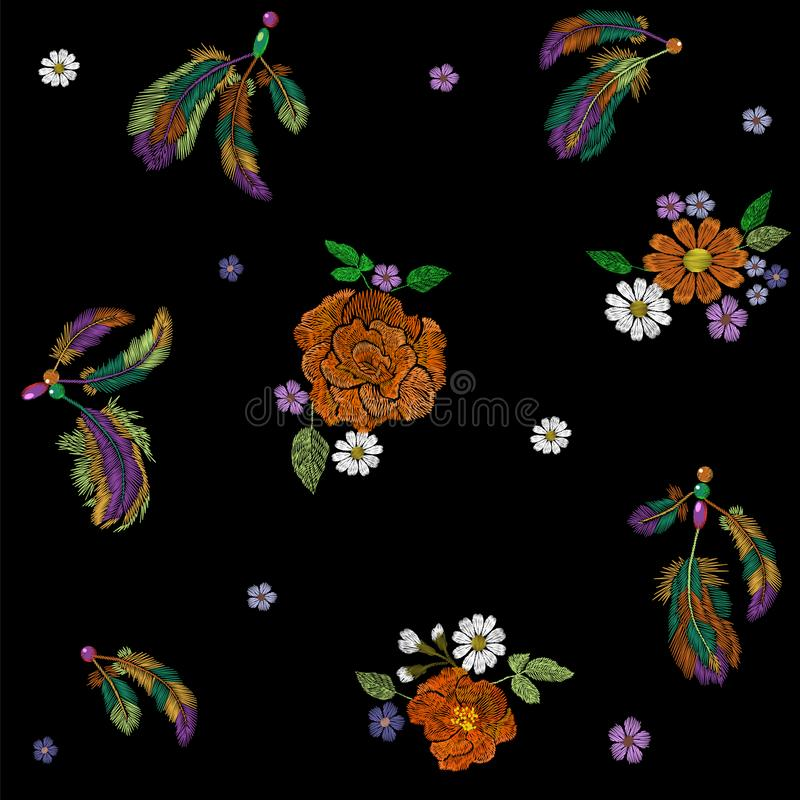 Indiern för broderibohoindianen befjädrar blommaordning För modedesign för kläder etnisk stam- garnering royaltyfri illustrationer