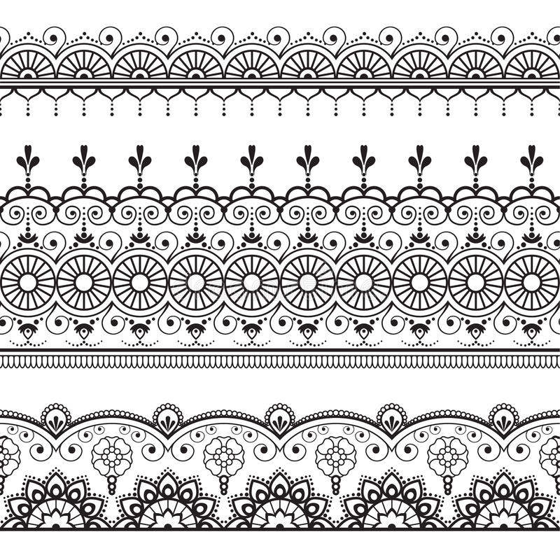 Indiern linje för Mehndi henna tre snör åt beståndsdelmodellen för tatuering på vit bakgrund vektor illustrationer