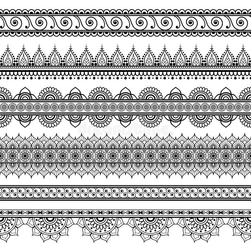 Indiern Mehndi hennauppsättning av sex linje snör åt beståndsdelmodellen för tatuering på vit bakgrund stock illustrationer
