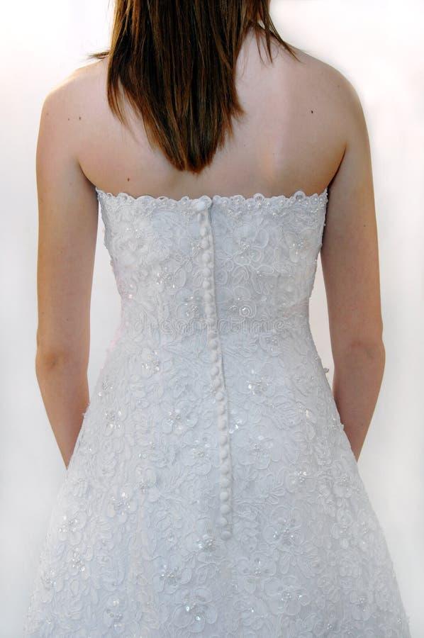 Indietro del vestito da cerimonia nuziale del merletto   immagine stock libera da diritti