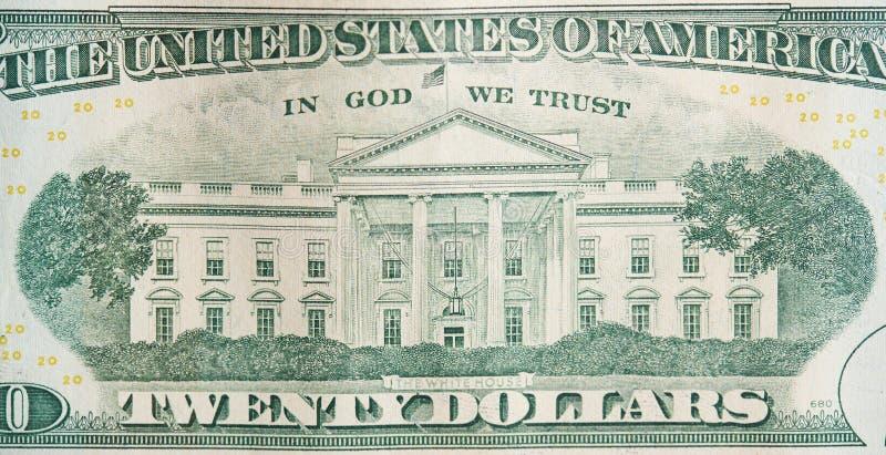 Indietro della banconota in dollari 20 immagine stock libera da diritti