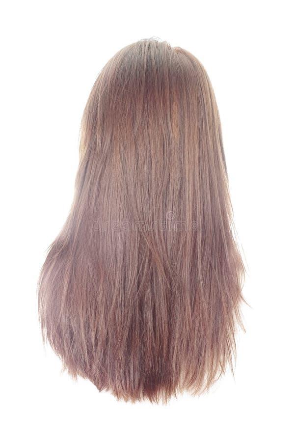 Indietro di capelli lunghi su bianco immagini stock libere da diritti