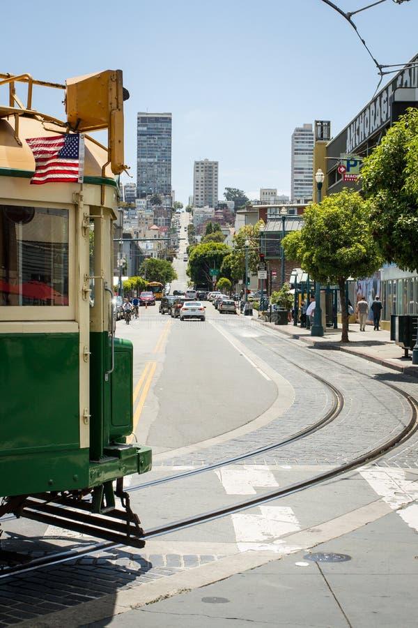 Indietro di passaggio del tram di San Francisco fotografia stock libera da diritti